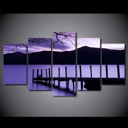 Wholesale Canvas Pier - 5 Pcs Set Framed HD Printed Purple Dusk Pier Evening Modern Home Wall Decor Poster Canvas Art Painting Home Painting Decorating