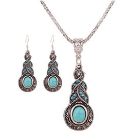 Wholesale Kits Necklaces - Jewelry sets Female Fashion Retro Turquoise Pendant Necklace The gourd peacock kit necklaces Earrings Stud Set Decoration
