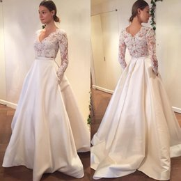 Wholesale Engagement Dresses Custom Made - 2017 Lace Wedding Dress See Through Sexy Bridal Gown Long Sleeves V Neck Engagement Dresses Custom Made Satin A Line With Pocket