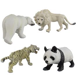 Wholesale Toy Wild Animals Plastic - kida imitation wild animal models toys 4 style Lion Tiger Polar bear Panda solid plastic dolls toys mini animal toys 14-18cm for children's