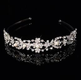 Femmes cristal strass perle fleur couronne mariage parti bandeau nuptiale bande de cheveux accessoires tiara bijoux de mariage 1 pcs drop ship ? partir de fabricateur