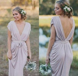 Wholesale Coral Silk Robes - Deep V Neck Sheath Long Bridesmaid Dresses Cap Sleeves Sexy Low Back Ruffles Boho Beach Wedding Guest Dress Country Robes de Demoiselles