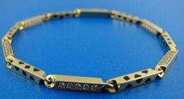 Wholesale Enamel Stamp - 18K 750 YELLOW GOLD ENAMEL DIAMOND LINK CHAIN BRACELET PANTHER STAMPED