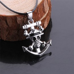 Wholesale Women One Piece Leather - One Piece Anime Anchor Necklace, Floating Charm Rudder Skulls' Pendant Necklaces, Long Neckless Women Men Jewelry