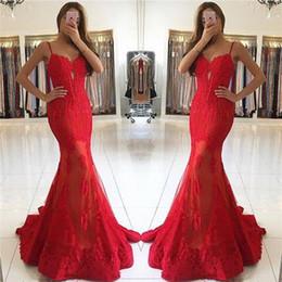 Rote schiere sehen durch kleid online-Red Spaghetti-Trägern Mermaid Prom Dresses Schatz Durchschauen Röcke Abendkleider mit Spitze Appliques Roben de bal 2017 Herbst