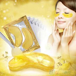 pilaten pore strip en gros Promotion En gros-5 Packs Hydratant Oeil Patches Feuille Beauté Or Cristal Collagène Masque Pour Les Yeux 4E1C 7GZ4