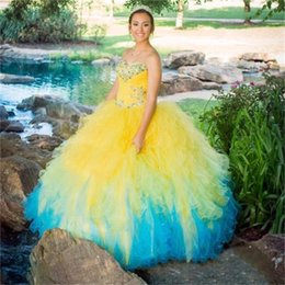 Wholesale Champagne Royal Blue Colors - Yellow Blue Quinceanera Dresses Plus Size Sweetheart Crystals Bodice Multi Colors Ball Gown Prom Party Dress Sweet 16 Ball Gowns 2017 Custom