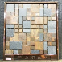 Wholesale Metal Backsplash Tile - copper and stone mixed, mosaic wall tiles, Metal mosaic tile sticker,backsplash home mosaic decor wall tile, MDH8116
