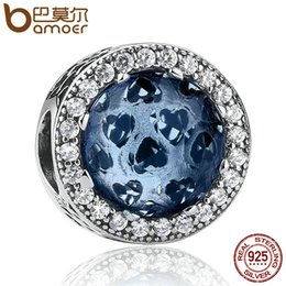 Wholesale Moonlight Silver - Pandora 925 Sterling Silver Radiant Hearts, Moonlight Blue Crystal & Clear CZ Charms Fit Original Bracelet Jewelry Making PSC063 Wholesale