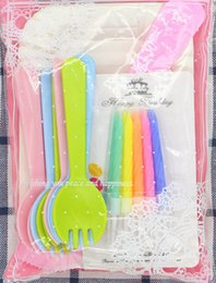 Wholesale Paper Dishes Wholesale - 2017Baking packaging of disposable cake paper plate of 5 disk spork a knife birthday cake knife and fork dish