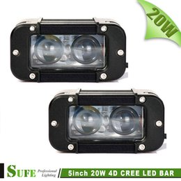 Wholesale Led Projector Headlights Motorcycle - SUFE NEW Projector 5'' 2pcs*10W 20W LED Light Bar Offroad Work Light Bar For Truck 4X4 SUV Car Motorcycle Driving Headlight