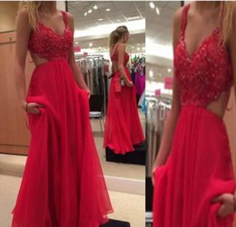 Wholesale Open Out Tops - Stunning Prom Dress Long Formal Sexy Open Back Evening Party Wear Beaded Lace Top Cut Out Hollow Back Floor Length Chiffon Dresses