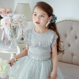 Wholesale Top Selling Children Clothes - Children princess T-shirt hot sell girls ruffle falbala round collar vest children all match basis tops summer new kid's clothes T2944