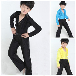 Wholesale Dance Costumes For Boys - 2016 New Long Sleeves Dance Costumes For Boys Latin Shirt Pants Ruffly Ballroom Modern Stage Dance Clothing Boy Salsa Dance Wear