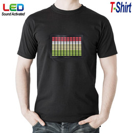 Wholesale T Shirts Led Dj - Sound Activated Light Up Flashing Equalizer EL LED T-Shirt Men for Rock Disco Party DJ EGS_343