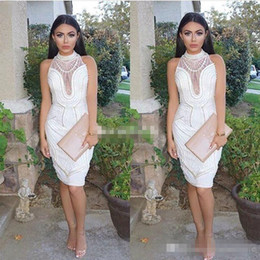 Wholesale Short Sleeveless Orange Dress - Sexy White Short Party Cocktail Dresses Pearls Illusion High Neck Sleeveless 2017 Women Club Formal Wear Prom Gowns Knee Length Sleeveless