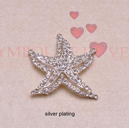 Wholesale Star Rhinestone Flat Back - (J0502) 39mmx37mm rhinestone metal button,silver or rose gold plating,flat back, star shape,100pcs lot