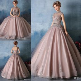 Wholesale Beaded Neck Dress - 2017 High Neck Quinceanera Dresses Lace Appliques with Crystal Beaded Ball Gown Sweet 16 Prom Gowns Vestidos De Quinceanera