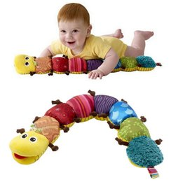 Wholesale Caterpillar Music Toys - Wholesale- Baby Toy Musical Caterpillar rattles stuffed Ring Bell Plush Doll Insect Cute Cartoon music sound Animal Educational Mobiles kid