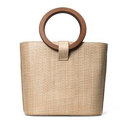Wholesale Handbag Marketing - 2017 Big Straw Handbags for Women Ring Handle New Design Beach Bag Ladies Weave Shoulder Bags Basket Party Market Shopping Tote C75