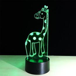 Освещение жирафов онлайн-Супер Симпатичные Жираф Акриловые Красочное Сенсорное 3D LED Визуализация Иллюзия Night Light 15 Ключей Удаленная Настольная Лампа
