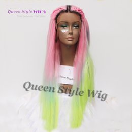Wholesale Blue Straight Wigs - Mermaid Colorful Rainbow Hair Wig Synthetic Pastel Rainbow Color Pink  Bright Blue  Fluorescent Green Ombre Hair Lace Front Wig