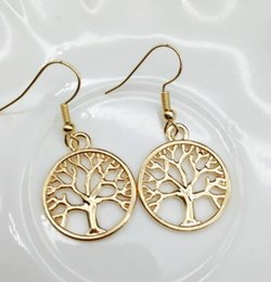Wholesale Fishing Life - 2017 Hot Antique Silver Tree Of Life Charm Earrings Fish Ear Hook Chandelier TOP1581