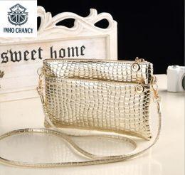 Wholesale Ladies Fashion Satchel Handbags - New Fashion Neck Wallet Handbags Women Wedding Clutches Ladies Crocodile Pattern Party Purse Famous Designer Shoulder Messenger bag