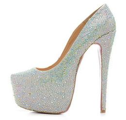 Wholesale Teal Crystal Shoes - New 2017 Women Crystal Rhinestones High Heels,Brand Design Ladies Platform Pumps 16cm Heel Dress Shoes 35-42 Drop Shipping