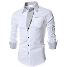 Wholesale White Collared Shirt Grey - Wholesale- Men Luxury Business Stylish Slim Shirt Fit Long Sleeve Casual Dress Shirts Black White Grey Blue Plus Size 3XL #95099