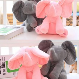Wholesale Baby Easter - 30cm Plush Elephant Dog Doll Peek A Boo Hide Seek Elephant Toy PEEK-A-BOO Singing Baby Music Toys Ears Flaping Move Funny Doll KKA2496