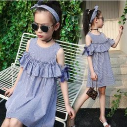 Wholesale Toddler Formal Cotton Dress - Girls Off Shoulder Dress Summer 2017 Toddler Clothes Teenage Fashion Cotton Striped Bow Ruffles Kids Dresses For Girls