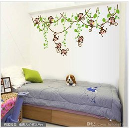 Wholesale Tree Wallpaper Wholesale - Wall Sticker Cartoon Monkey Climb Tree Cute Vinyl Decal Kid Room Nursery School Home Decor Backdrop Wallpaper 2 2pc F R