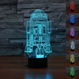 Wholesale Robot Table Lamp - Wholesale- 100~240v Robot Children Room Bedroom decorative Night multi 7 color change USB Touch button LED desk table light lamp