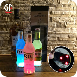 Wholesale round flashing lights - Universal LED Light Bottle Sticker Round Waterproof Flash Coasters Mat Paster High Brightness Ultra Thin Cup Stickers Party Gift 2 5mj BV