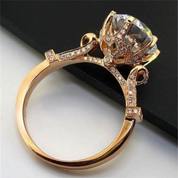 gemstone ring designs for women Promo Codes - Luxury silod 925 Silver&rose gold ring Jewelry Flower Crown Design Diamond Level Gemstone Ring Engagement Wedding Rings for women gift