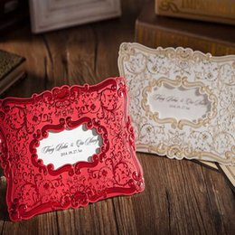 Wholesale Embossed Red Wedding Invitation - Wholesale- 50Pcs Free Shipping Beige Red Wedding Invitation Card Embossed Flower Marriage Engagement Wedding Birthday Party Card Envelope