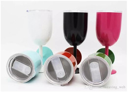 glasses china Coupons - DHL 10oz wine glass 10oz goblet Cup Cold Insulation Wine Cup 9 Colors Stainless Steel Tumbler True North