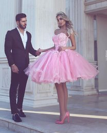 Wholesale Mint Prom Dress Knee Length - Pink Short Prom Dresses Ball Gown 2017 Strapless Applique Lace Backless Mint Tulle Junior 8th Grade Gradation Dress Party Queen Gowns Arabic
