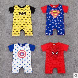 Wholesale Short Sleeve Baby Romper Batman - Baby romper Infant batman captain america spider man super man romper Babies short sleeve jumpsuits toddler kids summer clothing T4627