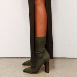 Wholesale Black Block Heels - 2017 Army Green Stretch Knit Ankle Boots Women Kim Kardashian Wooden Block Heel Short Sock Booties Pointed Toe 11CM High Heels Shoes Woman