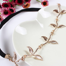 Wholesale Gold Tiaras For Sale - Fashion Hot Sale Tiara Noiva Metal Gold Chain Flower Leaf Hairband For Wedding Bridal Hair Accessory Women Forehead Jewelry