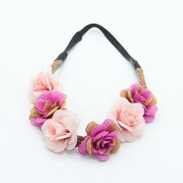 Wholesale Artificial Roses For Hair - Wedding Bride Headdress Hair Accessories Silk Rose Hairbands Artificial Floral Handmade Headwear For Beach Wear