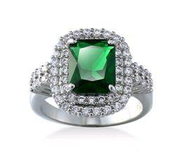 Wholesale Zircon Diamond Solitaire - Hot Women Green Gemstone Ring Settings White Gold Plated Zircon CZ diamond rings for Men Engagement Wedding Gift
