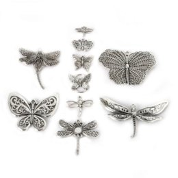 Wholesale Antique Coin Jewelry - Random Mixed 41pcs Metal Charms Antique Silver Plated Vintage alloy Pendant Animal Jewelry Findings fit Handcraft fashion