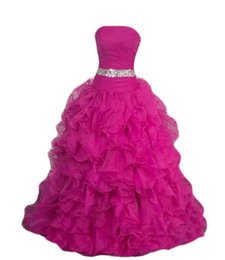 Wholesale Sunny Light - sunny 2017 Crystal Beading Bodice Sparkly Ruffles Skirt Deep pink Organza Sweet Ball Gown Long quinceanera prom Dresses