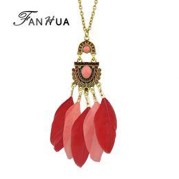 020151ff0332 Al por mayor-FANHUA estilo étnico de la joyería de Bohemia cadena de oro  antiguo colorido esmalte y collar colgante de plumas para las mujeres  accesorios