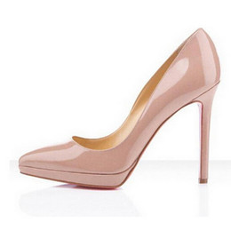 Wholesale Platforms Pumps - Classic Hot Sales Nude Patent Leather High Heels Women Pumps,Luxury Brand Red Bottom Pointy Toes Dress Wedding Shoes with Platform High-heel