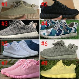 Wholesale Mens West - [With Box]2017 Boost 350 V1 Kanye West Pirate Black Turtle Dove Moonrock Oxford Tan Camo Pink White Mens Womens Senakers Running Shoe
