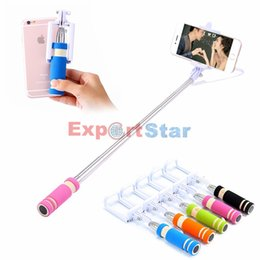 Wholesale Extendable Handheld - NEW Foldable Super Mini Wired Selfie Stick Handheld Extendable Monopod -Built in Bluetooth Shutter Non-slip Handle Compatible with phone